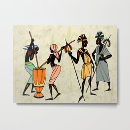 Man ethic african people collage Metal Print