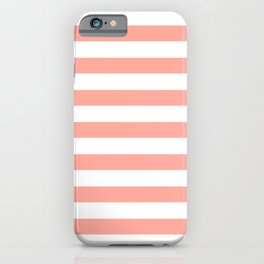 Simply Striped in Salmon Pink and White iPhone Case
