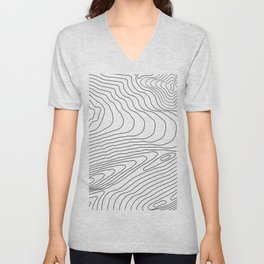 Topographic Line Pattern #440 Unisex V-Neck