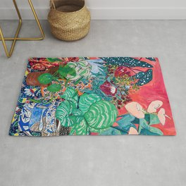 Jungle of Houseplants and Flowers on Bright Coral Pink with Wild Cats Rug