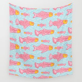 Pastel Shoal of Fish, Seamless Seaweed Animal Vector Pattern Background Wall Tapestry