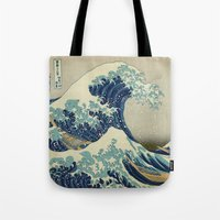 xbox Tote Bags featuring The Great Wave off Kanagawa by Palazzo Art Gallery