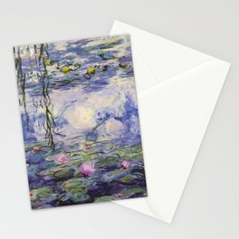 1917 Water Lilies oil on canvas. Claude Monet. Vintage fine art. Stationery Cards