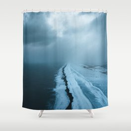 Moody Black Sand Beach in Iceland - Landscape Photography Shower Curtain
