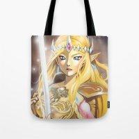 zelda Tote Bags featuring Zelda by Mika