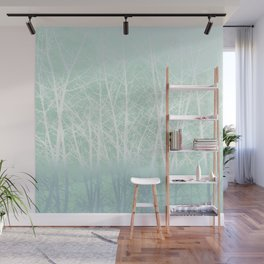 Frosted Winter Branches in Misty Green Wall Mural