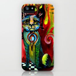 Cat with Mustache and Tie iPhone Case