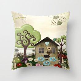 Bonnie Memories Whimsical Folk Art Throw Pillow