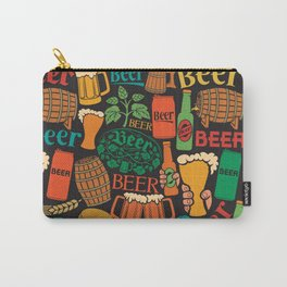 beer icons seamless pattern (hops leaf, wooden barrel, glass, can, mug, bottles) Carry-All Pouch