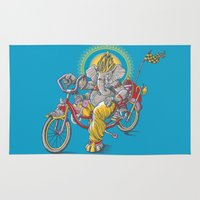 ganesh Area & Throw Rugs featuring Ganesh by mike reisel
