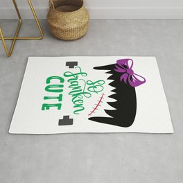 So Franken Cute With Bow - Halloween Holiday Rug
