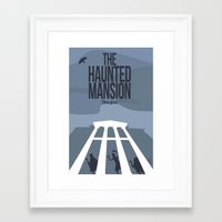 haunted mansion Framed Art Prints featuring The Haunted Mansion by Minimalist Magic - Art by Tony Sherg