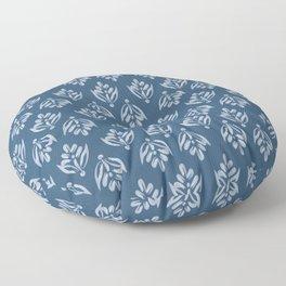Simple Leafy pattern blue Floor Pillow