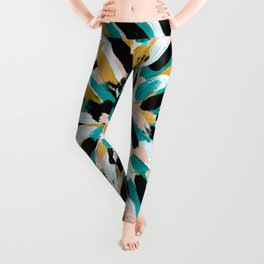 Teal, Pink, and Gold Paint Burst Leggings