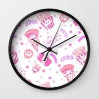 junk food Wall Clocks featuring JUNK by bb0t