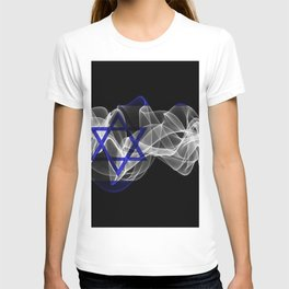 Israel Smoke Flag on Black Background, Israel flag T-shirt
