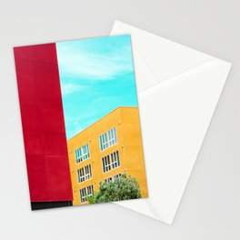 Architectural photography building red+yellow / aqua sky Stationery Cards