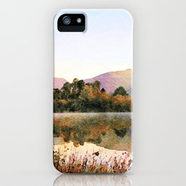 Island on Grasmere at Dawn, Lake District Cumbria, UK. Watercolour Painting iPhone Case