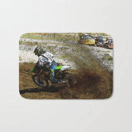 Round the Bend - Dirt-Bike Racing Bath Mat