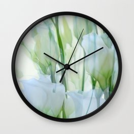 Painterly Lisianthus Wall Clock