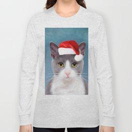 Cat Art Portrait With Santa Hat Long Sleeve T-shirt