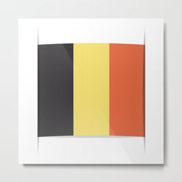 Flag of Belgium. The slit in the paper with shadows.  Metal Print