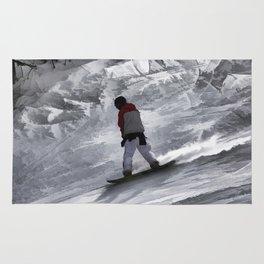 "Snowboarder ""just cruisin'"" Winter Sports Gift Rug"
