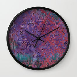 Abstract Pattern:  Watercolor Deep Tones Fancy Prints Pink and Purple Wall Clock