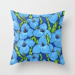 Blue Puya Flowers Botanical Floral Pattern Throw Pillow