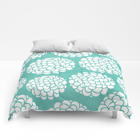 Turquoise Blossoms Comforters
