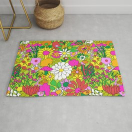 60's Groovy Garden in Lime Green Rug