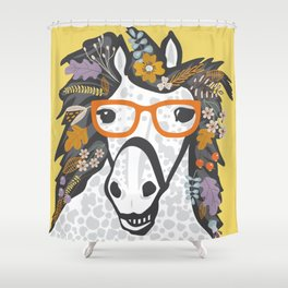 Autumn Nerdy Pony Shower Curtain