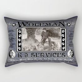 Wolfman K-9 Services Metal Sign Rectangular Pillow