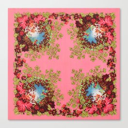Traditional folk embroidery with flowers Canvas Print