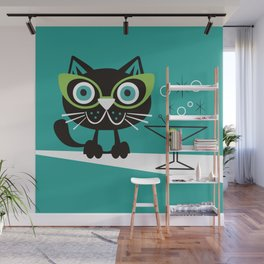 1950s Swank Mid Century Modern Martini Cocktail Kitty Cat Wall Mural