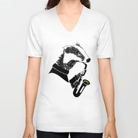 saxophone V-neck T-shirts featuring Badger Saxophone by mailboxdisco
