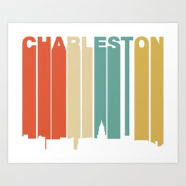 Retro 1970's Style Charleston South Carolina Skyline Art Print