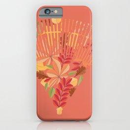 Autumn fallen leaves with rake design illustration iPhone Case