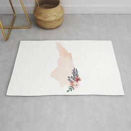 North Carolina Watercolor Floral State Rug