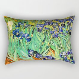 Purple Irises at St. Remy by Vincent Van Gogh Rectangular Pillow