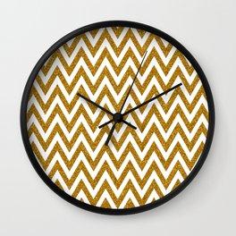 Gold Glitter Chevrons Wall Clock