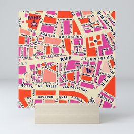 paris map pink Mini Art Print