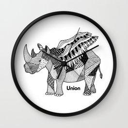Illustrated Rhino – Union – Black Wall Clock