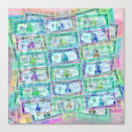 540 Million Dollars Blue Green Pastel Money Bling Cash Dollar Bills Loot Coin Canvas Print