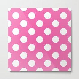 Geometric Candy Dot Circles - White on Strawberry Pink Metal Print