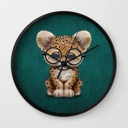 Cute Baby Leopard Cub Wearing Glasses on Teal Blue Wall Clock