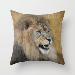 Snarling Male Lion Throw Pillow