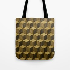 Optical wood cubes Tote Bag