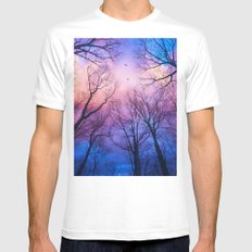 A New Day Will Dawn  (Day Tree Silhouettes) White MEDIUM Mens Fitted Tee