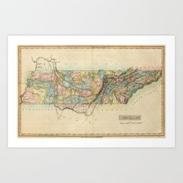 Vintage Map of Tennessee (1822) Art Print